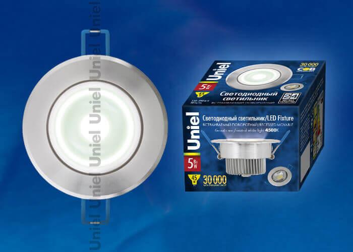 Встраиваемый светодиодный светильник (07600) Uniel ULM-R31-5W/NW IP20 Silver цены