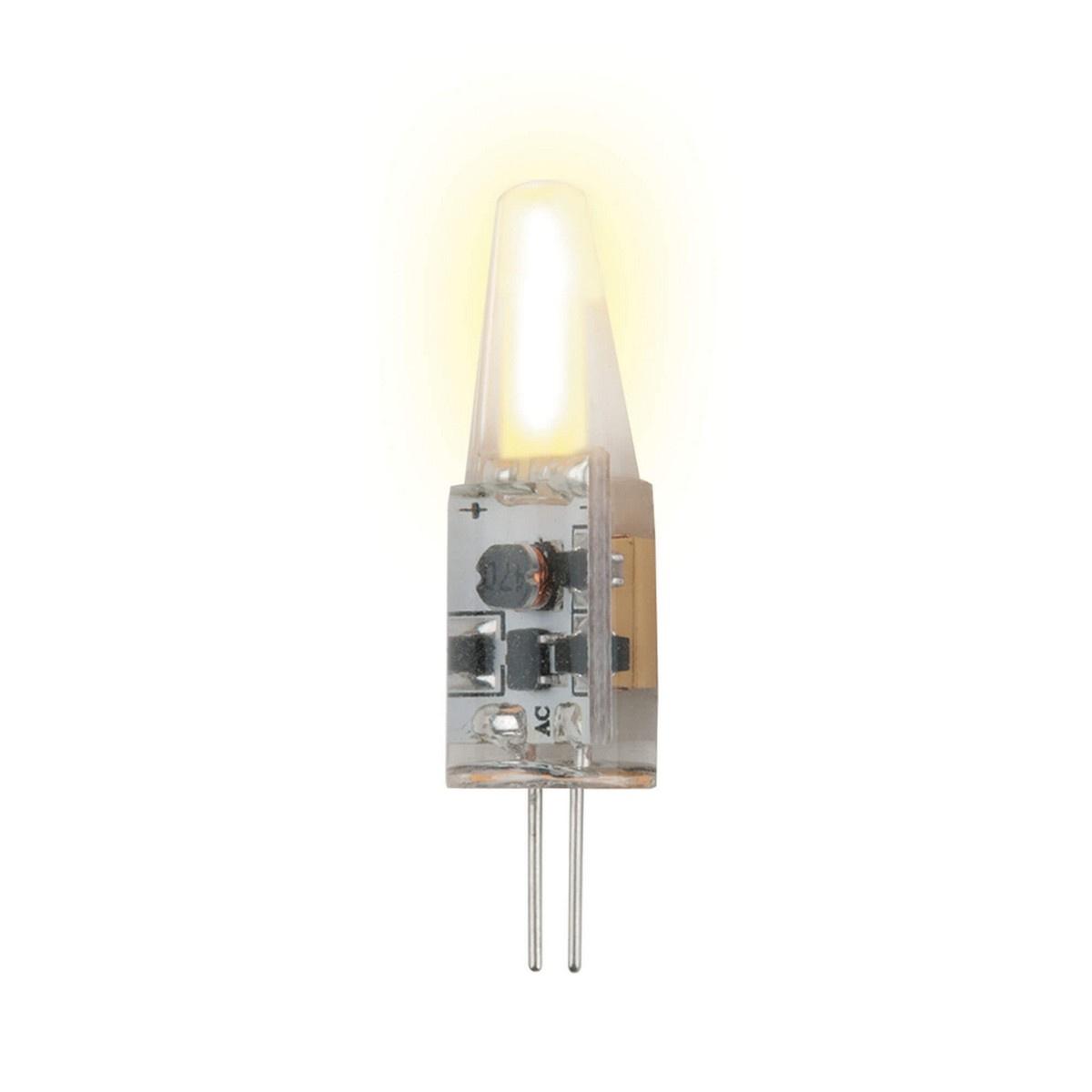 Лампа светодиодная (UL-00000183) G4 1,5W 3000K прозрачная LED-JC-12/1,5W/WW/G4/CL SIZ05TR uniel лампа галогенная uniel капсула прозрачная g4 35w jc 220 35 g4 cl 02585