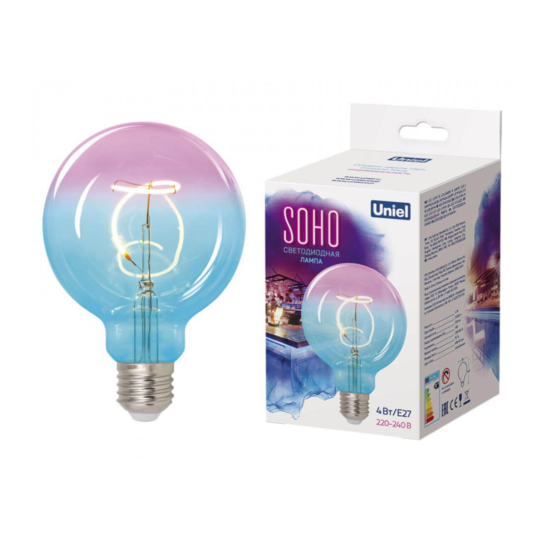 Лампочка Uniel LED-SF01-4W/Soho/E27/CW BLue/Wine GLS77TR Soho