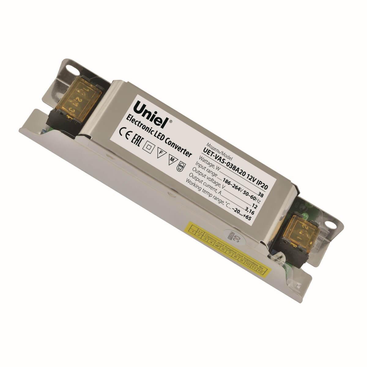 Блок питания (UL-00002426) Uniel UET-VAS-038A20 12V IP20 блок питания ul 00002433 uniel uet vas 200b20