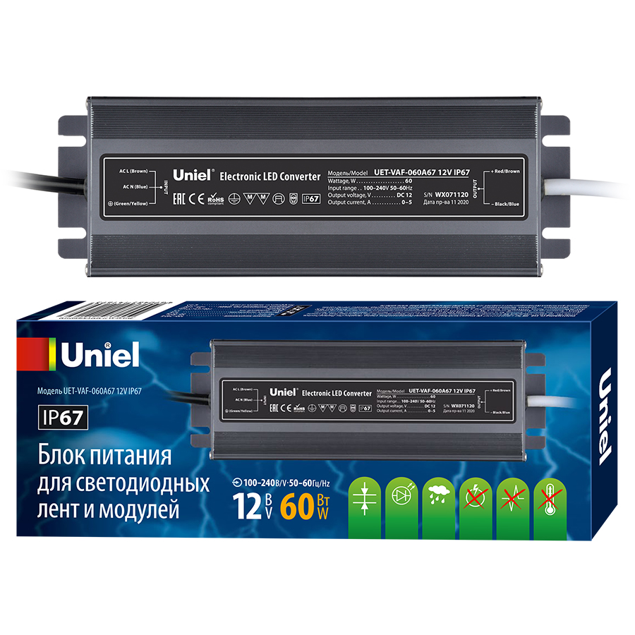 Фото - Блок питания Uniel UET-VAF-060A67 12V IP67 UET-VAF блок питания для светодиодов uniel uet vaj 060a67