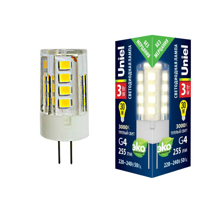 Лампочка Uniel LED-JC-220/3W/3000K/G4/CL GLZ09TR LED-JC