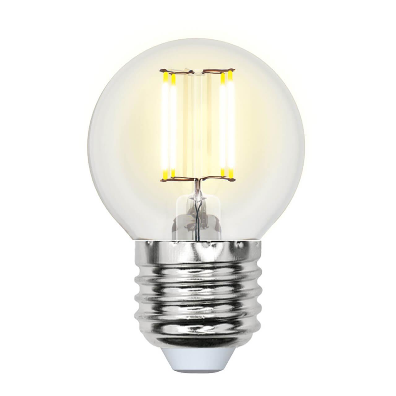 Лампа светодиодная филаментная (UL-00002203) Uniel E27 6W 3000K прозрачная LED-G45-6W/WW/E27/CL GLA01TR цена
