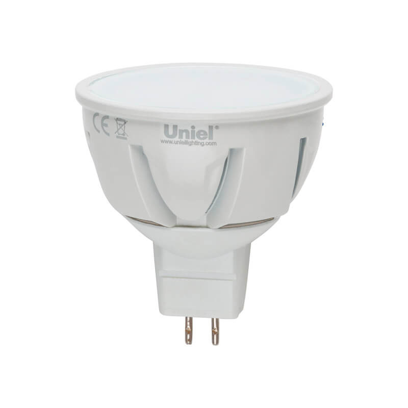 Лампа светодиодная (07912) Uniel GU5.3 5W 3000K JCDR матовая LED-JCDR-5W/WW/GU5.3/FR ALP01WH цена в Москве и Питере