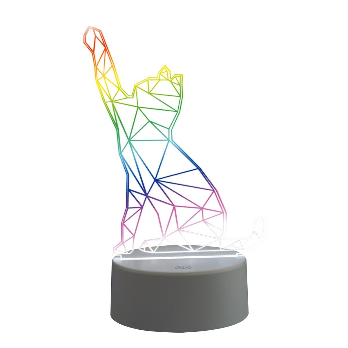светильники Интерьерные украшения Uniel ULI-M501 RGB/3AAA Catty/White 3D светильники (USB зарядное устройство)