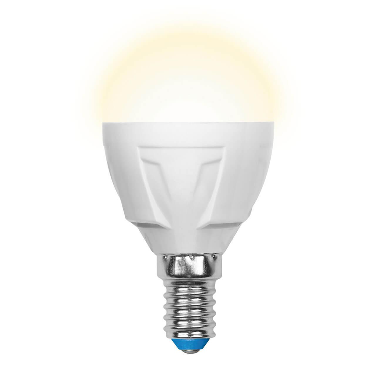 Лампа светодиодная (UL-00002419) Uniel E14 7W 3000K матовая LED-G45 7W/WW/E14/FR PLP01WH цены