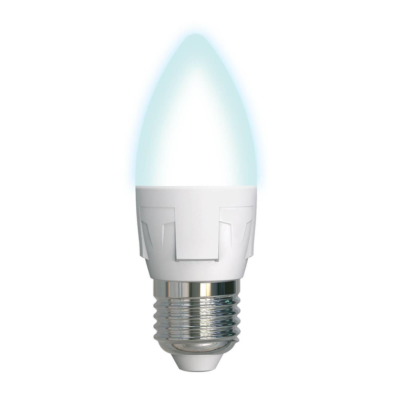 Лампочка Uniel LED-C37 7W/NW/E27/FR PLP01WH Яркая упаковка светодиодных ламп 10 шт uniel led nw fr plp01wh картон e27 a60 10вт
