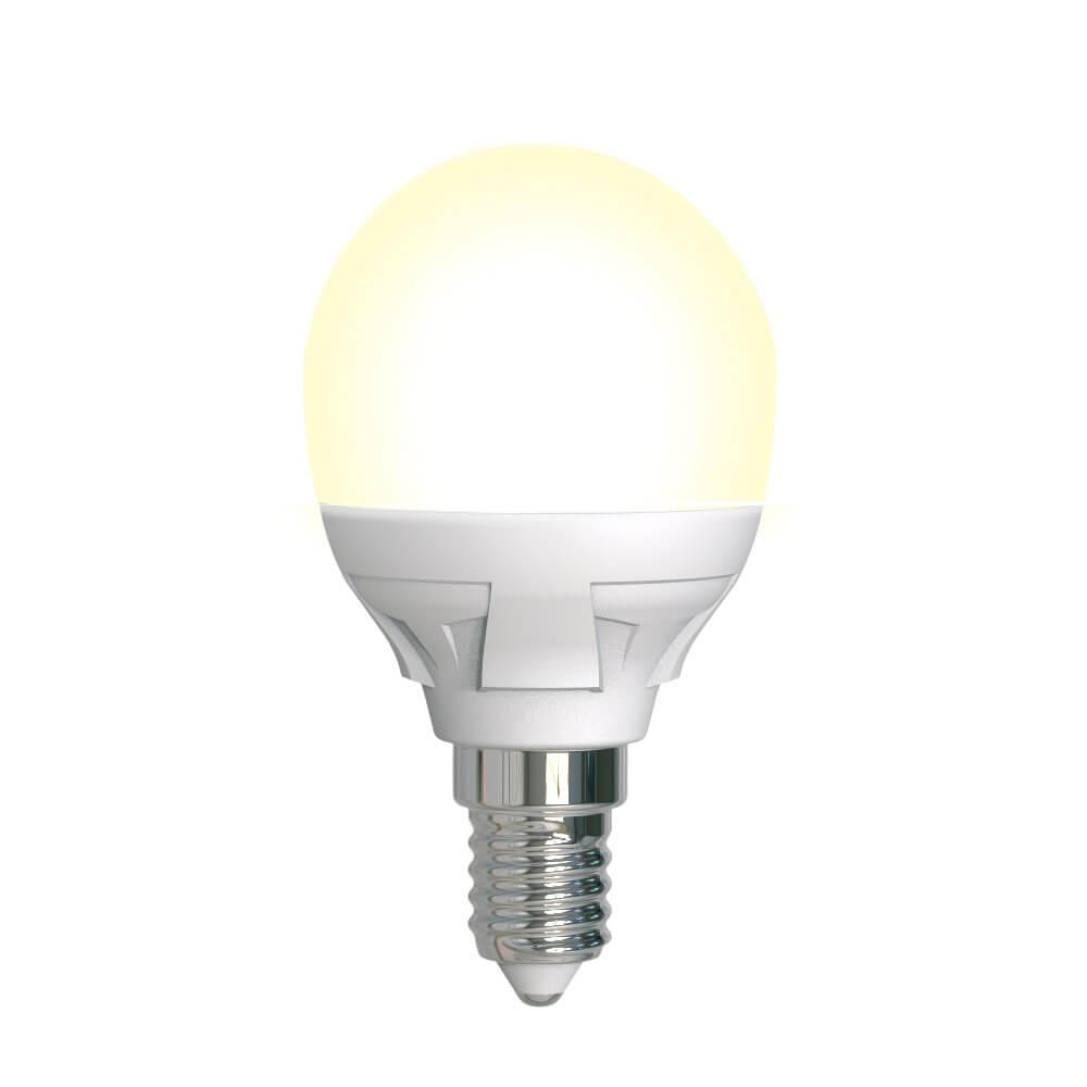 Лампа светодиодная диммируемая (UL-00004302) Uniel E14 7W 3000K матовая LED-G45 7W/3000K/E14/FR/DIM PLP01WH цена и фото
