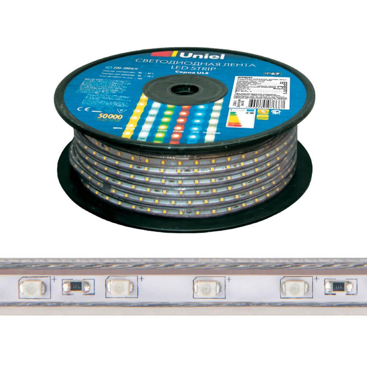 Светодиодная лента Uniel ULS-2835-60LED/m-10mm-IP67-220V-8W/m-50M-Yellow ULS