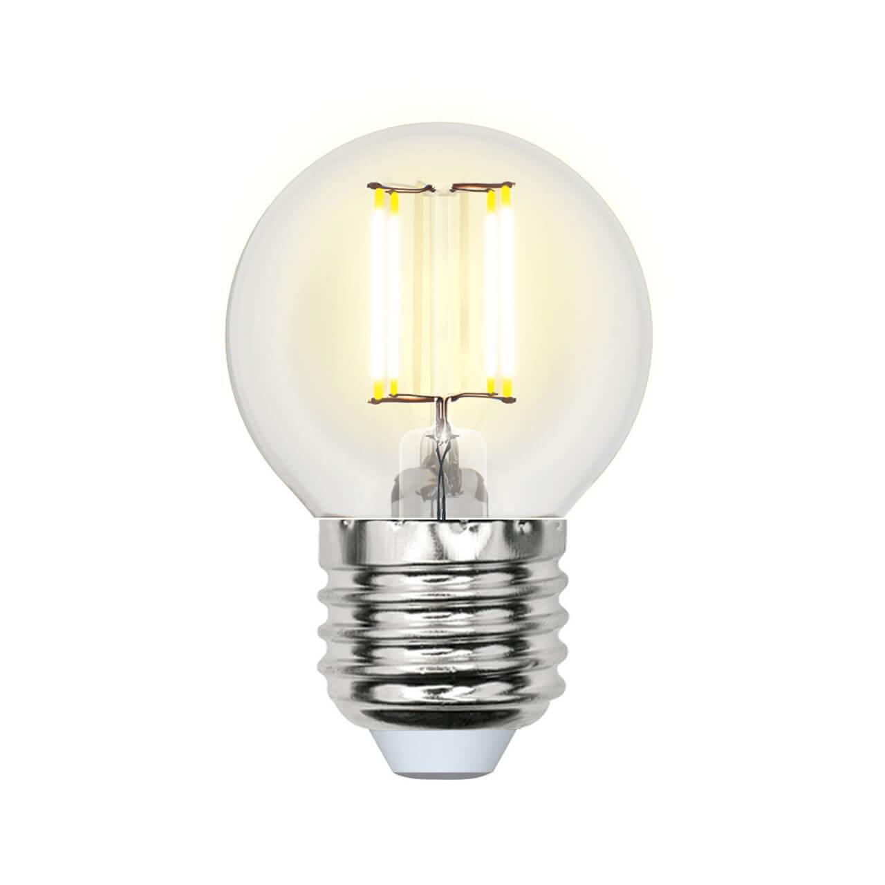 Лампа светодиодная филаментная Uniel E27 5W 3000K прозрачная LED-G45-5W/WW/E27/CL/MB GLM10TR лампа светодиодная филаментная e14 5w 3000k прозрачная led cw35 5w ww e14 cl mb glm10tr