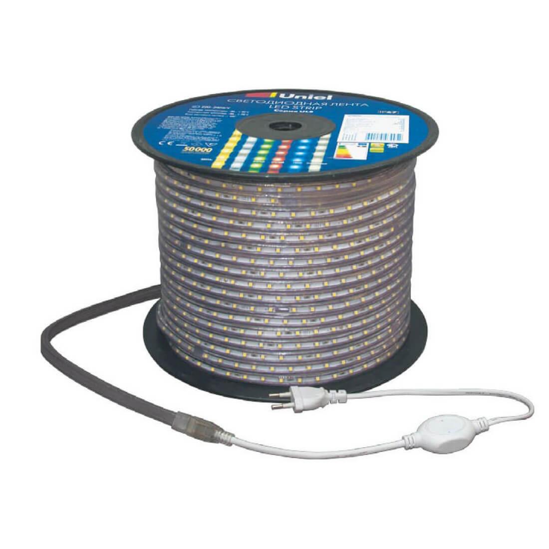 Светодиодная лента Uniel ULS-2835-60LED/m-10mm-IP67-220V-8W/m-50M-DW ULS-2835