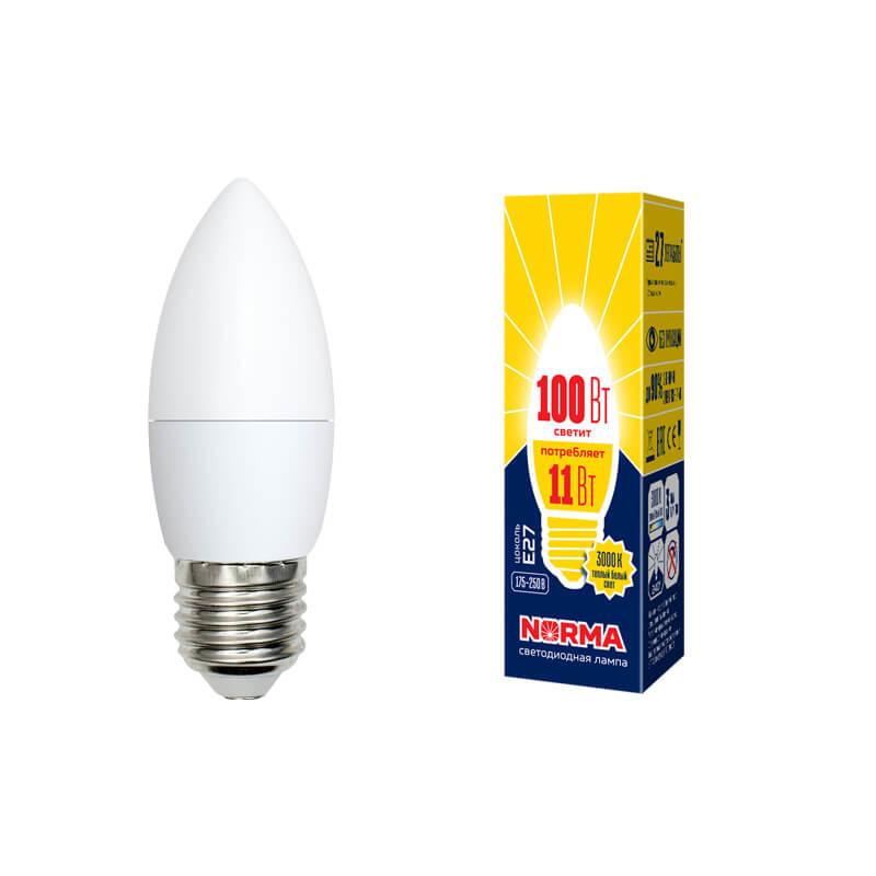 Лампочка Volpe LED-C37-11W/WW/E27/FR/NR Norma C лампочка volpe led r50 7w ww e14 fr nr norma r
