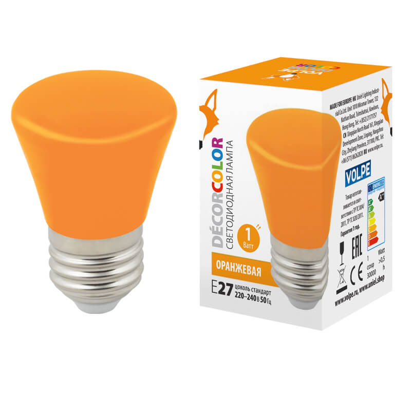 Лампочка Volpe LED-D45-1W/ORANGE/E27/FR/С BELL Bell LED-D45