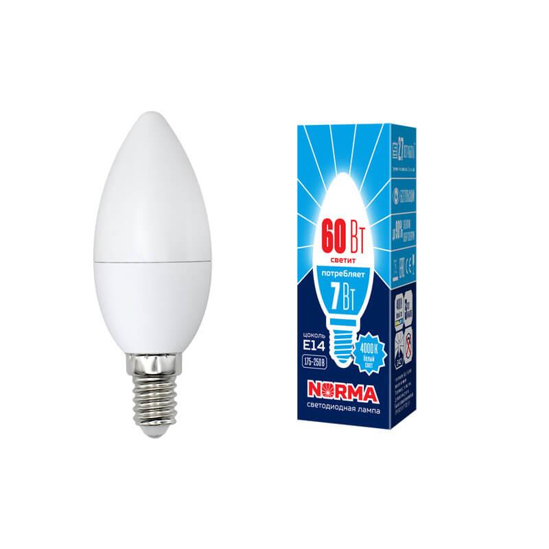 Лампочка Volpe LED-C37-7W/NW/E14/FR/NR Norma C лампочка volpe led r50 7w ww e14 fr nr norma r
