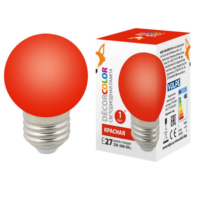 Лампочка Volpe LED-G45-1W/RED/E27/FR/С LED-G45