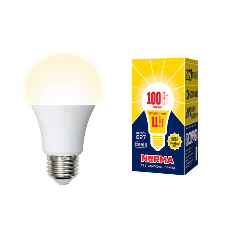 Лампа светодиодная (UL-00003787) E27 11W 3000K матовая LED-A60-11W/WW/E27/FR/NR