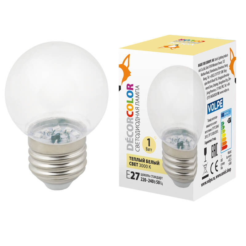 Лампочка Volpe LED-G45-1W/3000K/E27/CL/С LED-G45