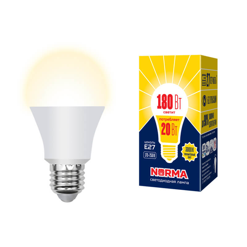 Лампочка Volpe LED-A65-20W/WW/E27/FR/NR Norma A лампочка volpe led r50 7w ww e14 fr nr norma r