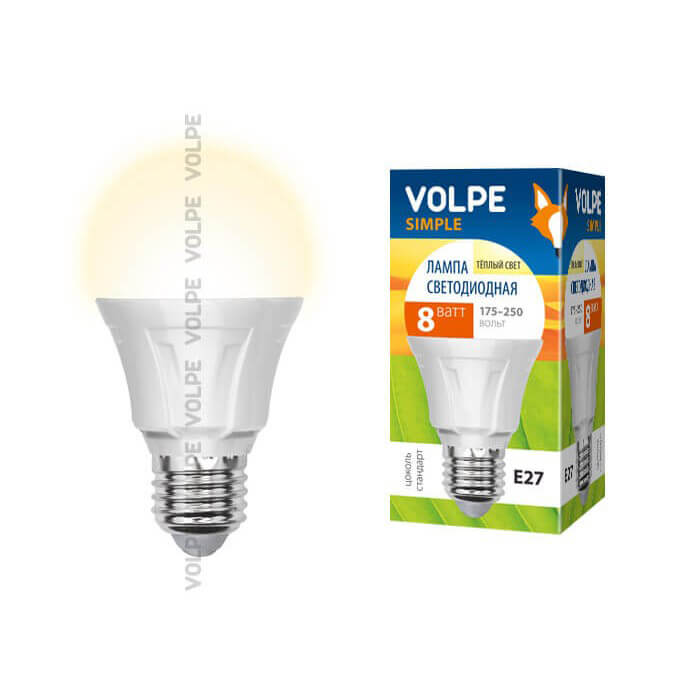 Лампа светодиодная (09438) E27 8W 3000K матовая LED-A60-8W/WW/E27/FR/S