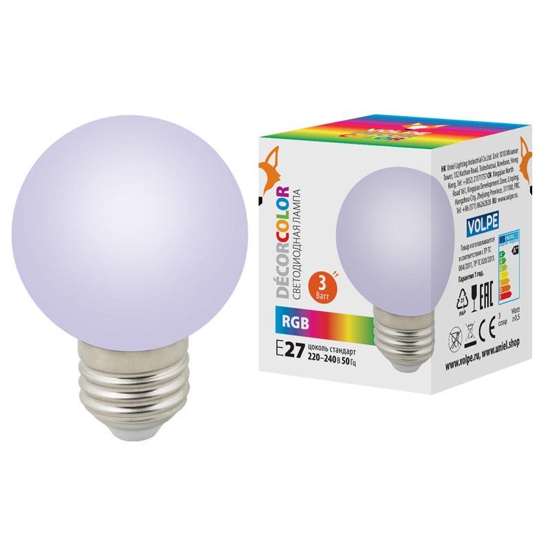 Лампочка Volpe LED-G60-3W/RGB/E27/FR/С LED-G60