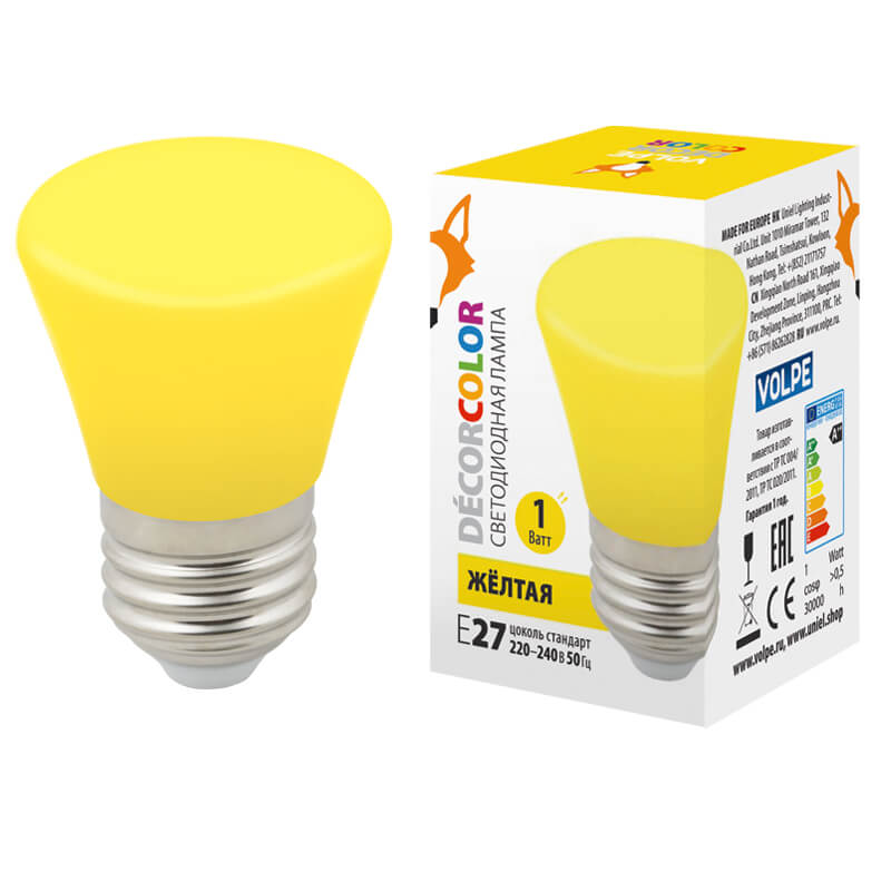 Лампочка Volpe LED-D45-1W/YELLOW/E27/FR/С BELL Bell LED-D45