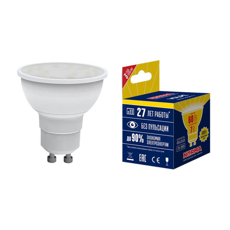 Лампочка Volpe LED-JCDR-7W/WW/GU10/NR LED-JCDR