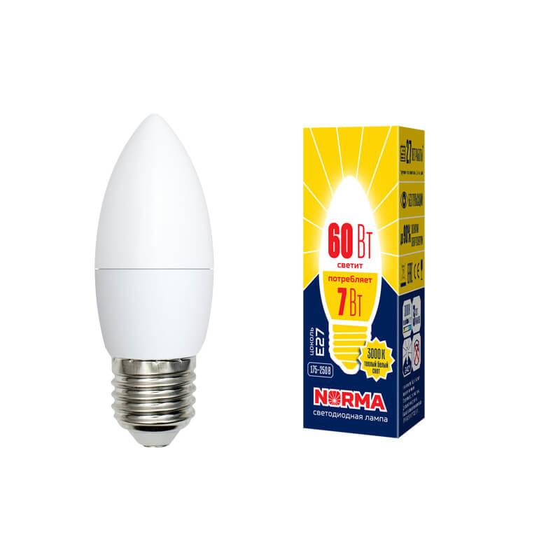Лампа светодиодная (UL-00003799) E27 7W 3000K матовая LED-C37-7W/WW/E27/FR/NR