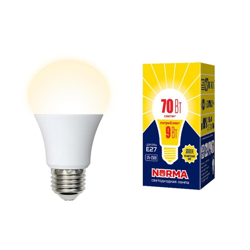Фото - Лампочка Volpe LED-A60-9W/3000K/E27/FR/NR Norma LED-A60 лампочка uniel led a60 9w nw e27 fr alm