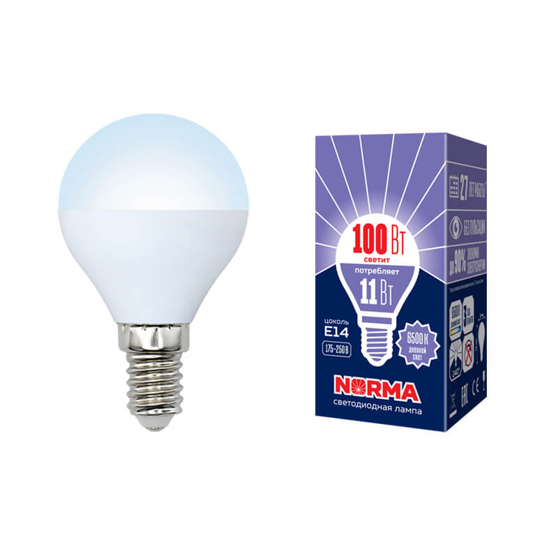 цена на Лампа светодиодная (UL-00003830) E14 11W 6500K матовая LED-G45-11W/DW/E14/FR/NR