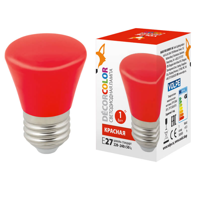 Лампочка Volpe LED-D45-1W/RED/E27/FR/С BELL Bell LED-D45
