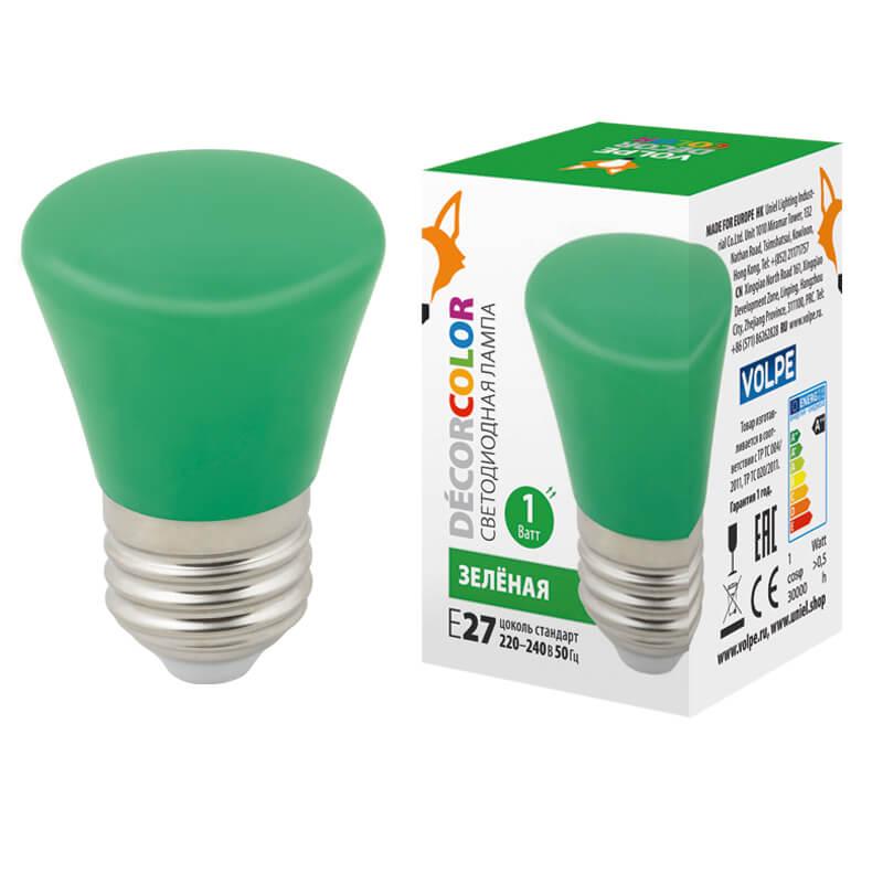Лампочка Volpe LED-D45-1W/GREEN/E27/FR/С BELL Bell LED-D45