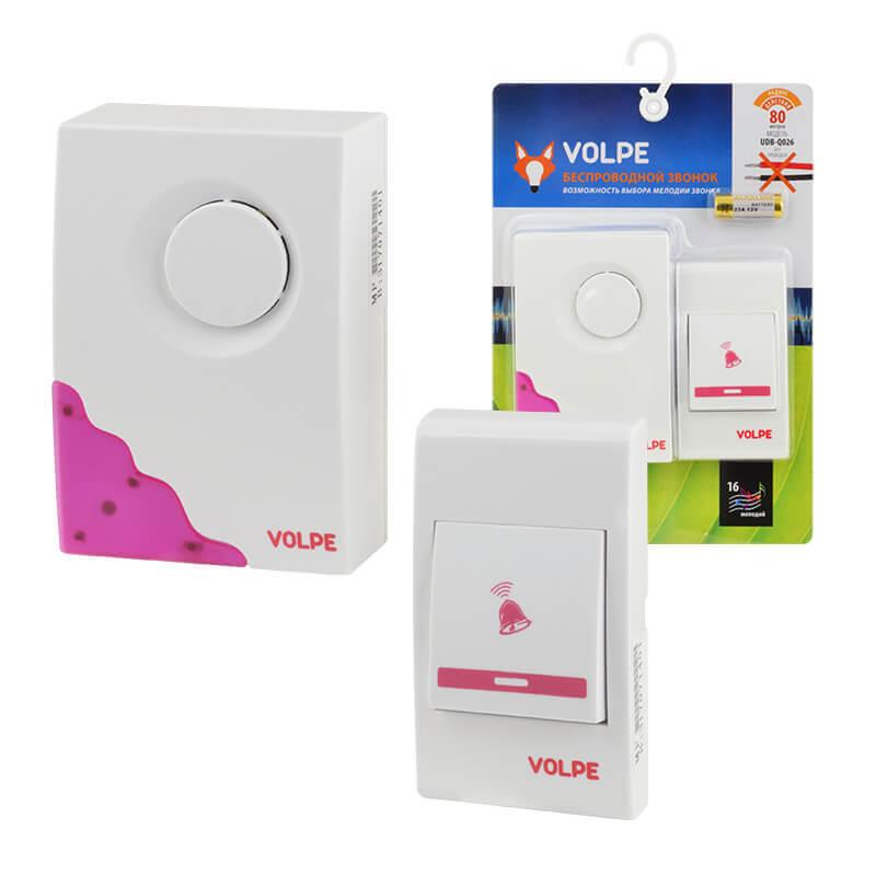 цена на Звонок Volpe UDB-Q026 W-R1T1-16S-80M-WH Звонки беспроводные