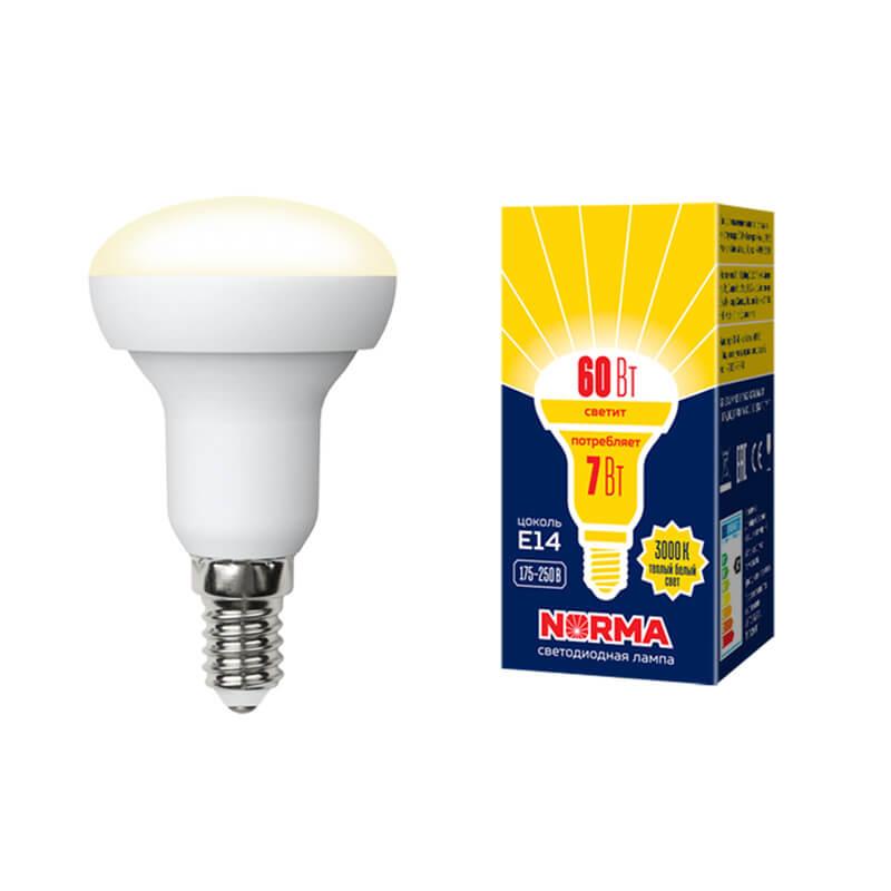 Лампа светодиодная (UL-00003845) E14 7W 3000K матовая LED-R50-7W/WW/E14/FR/NR