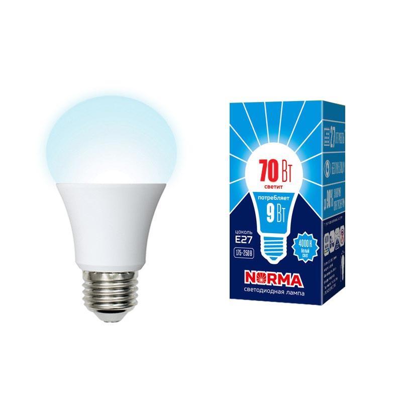 Фото - Лампочка Volpe LED-A60-9W/4000K/E27/FR/NR Norma LED-A60 лампочка uniel led a60 9w nw e27 fr alm