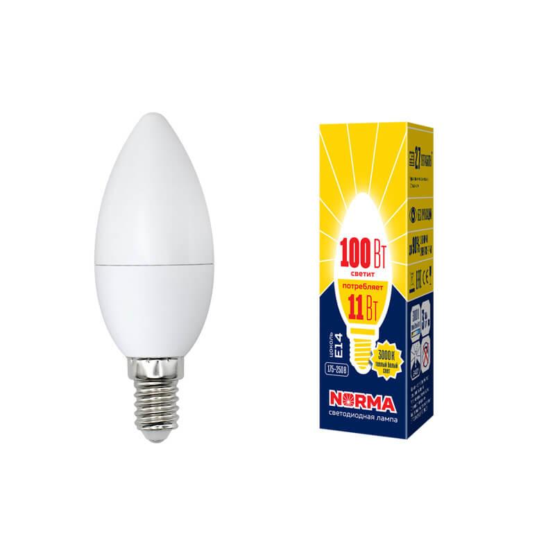 Лампочка Volpe LED-C37-11W/WW/E14/FR/NR Norma C лампочка volpe led r50 7w ww e14 fr nr norma r
