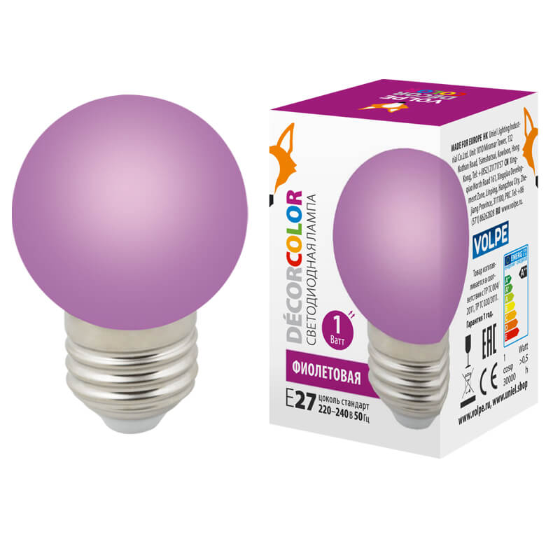 Лампочка Volpe LED-G45-1W/PURPLE/E27/FR/С LED-G45