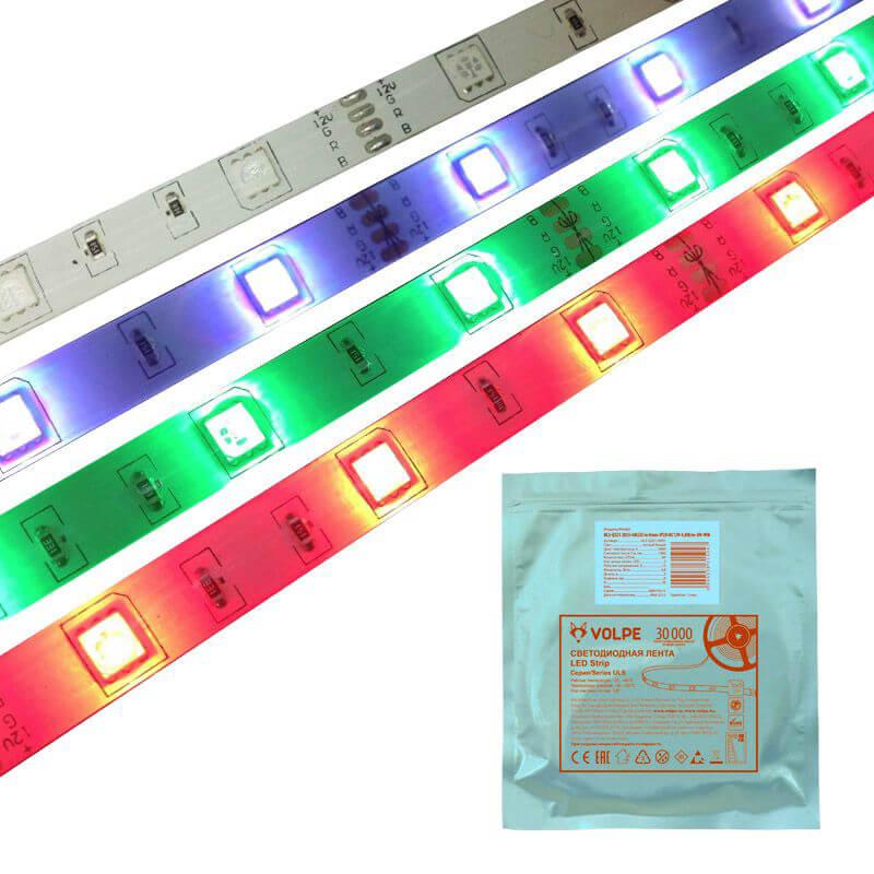 купить Светодиодная влагозащищенная лента Volpe (UL-00000900) 7,2W/m 30LED/m 5050SMD RGB 5M ULS-Q214 5050-30LED/m-10mm-IP65-DC12V-7,2W/m-5M-RGB дешево