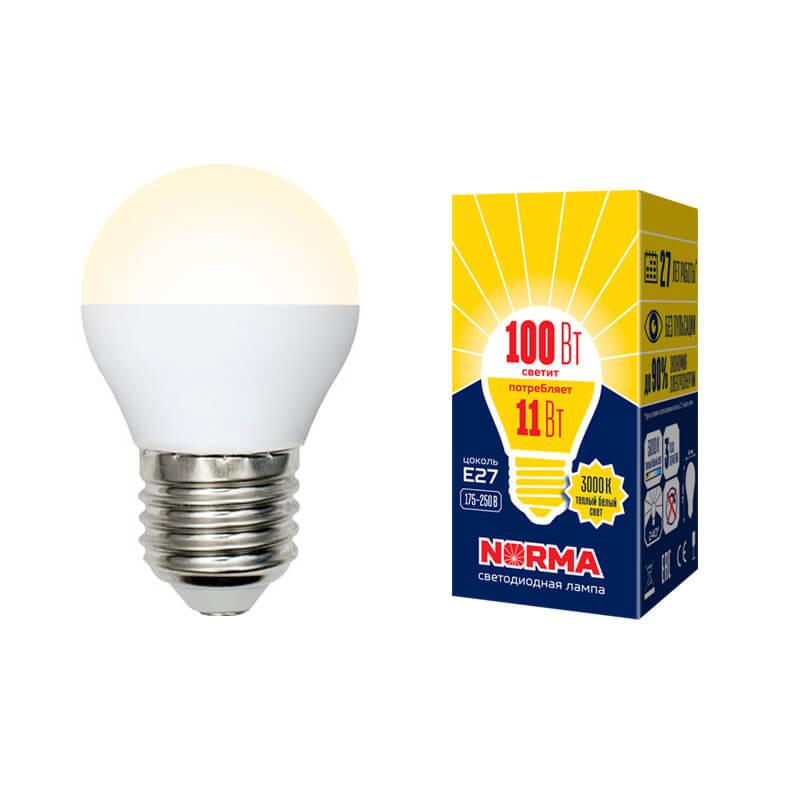 Лампочка Volpe LED-G45-11W/WW/E27/FR/NR Norma G лампочка volpe led r50 7w ww e14 fr nr norma r