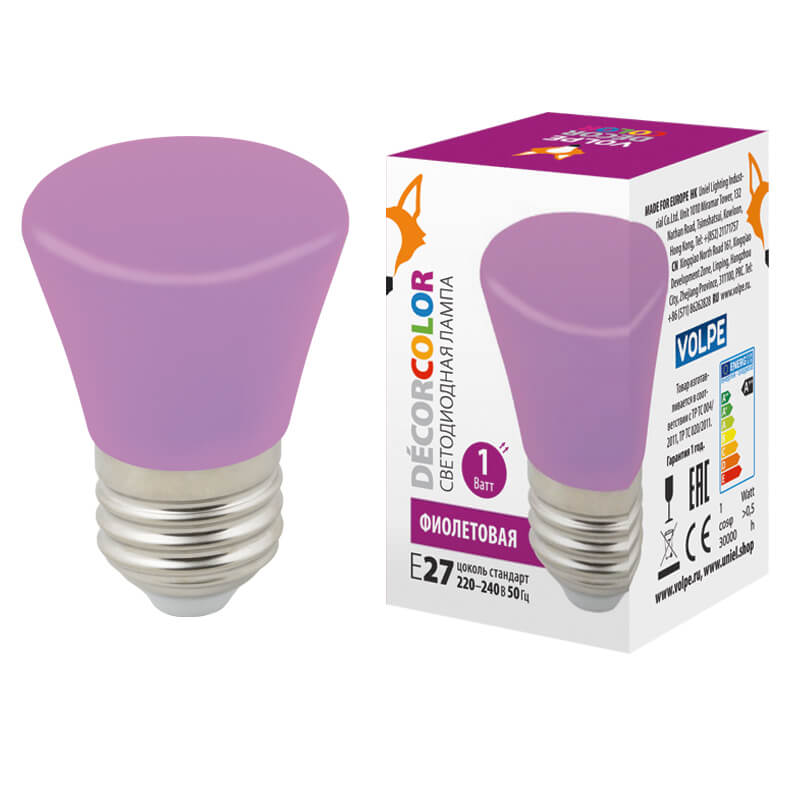 Лампочка Volpe LED-D45-1W/PURPLE/E27/FR/С BELL Bell LED-D45