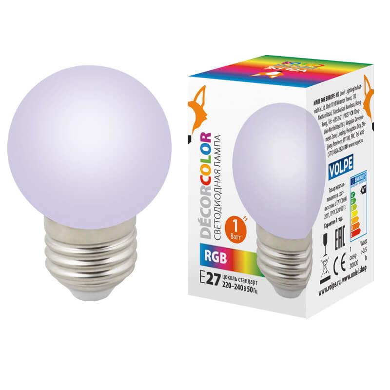 Лампочка Volpe LED-G45-1W/RGB/E27/FR/С LED-G45 (Цветовая температура: RGB)