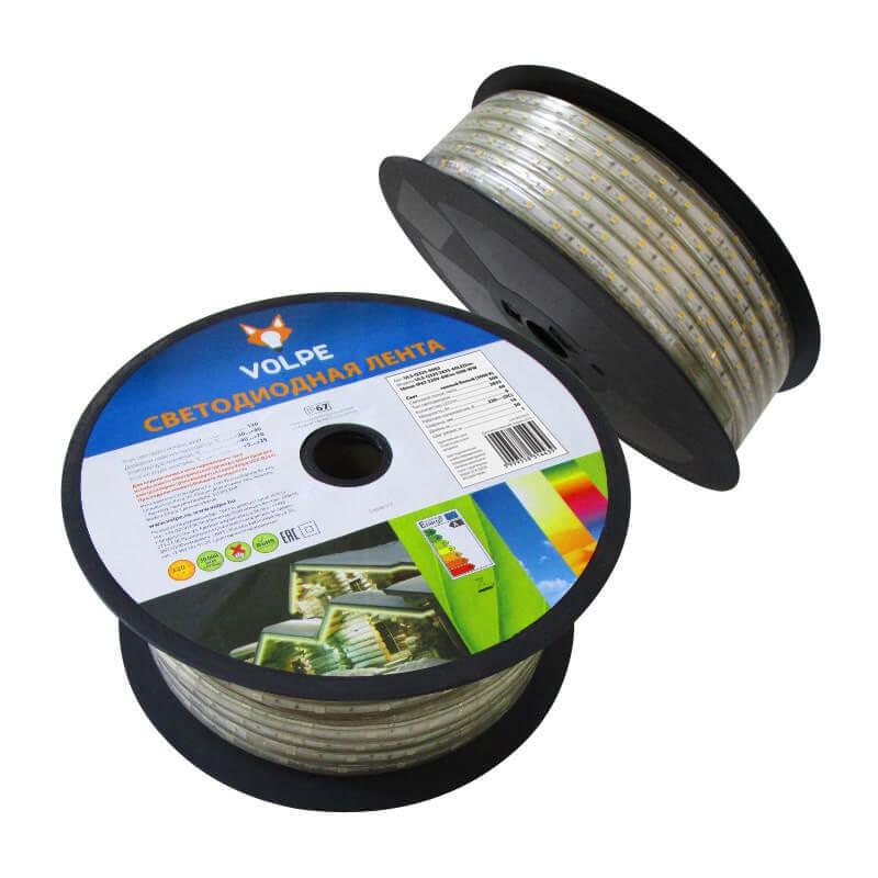 Светодиодная влагозащищенная лента Volpe (10982) 6W/m 60LED/m 2835SMD теплый белый 50M ULS-Q325 2835-60LED/m-10mm-IP67-220V-6W/m-50M-WW цены
