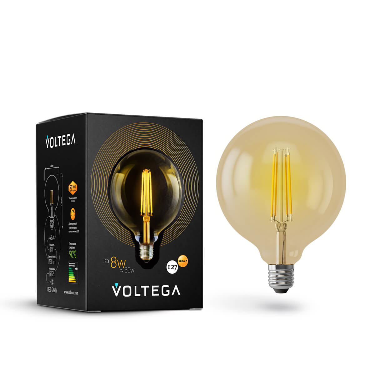 Лампа светодиодная филаментная диммируемая E27 8W 2800К золотая VG10-G125Gwarm8W 6838 цена и фото