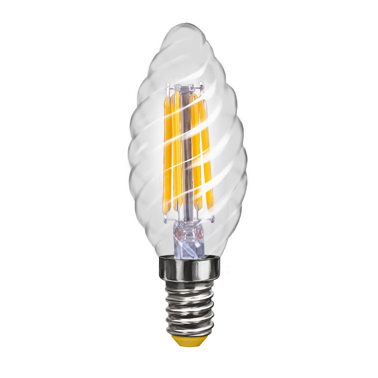 купить Лампа светодиодная филаментная Voltega E14 4W 4000К свеча витая прозрачная VG10-CС1E14cold4W-F 7003 по цене 169 рублей