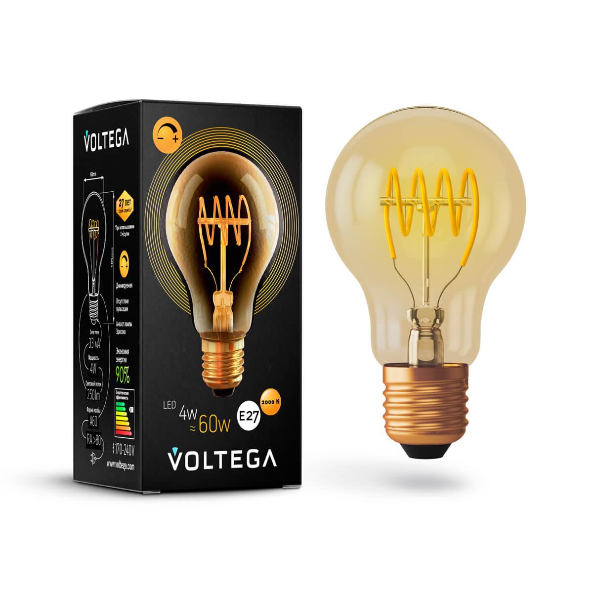 Лампа светодиодная диммируемая E27 4W 2800К прозрачная VG10-A60GE27warm4W-FB 7078 цена и фото