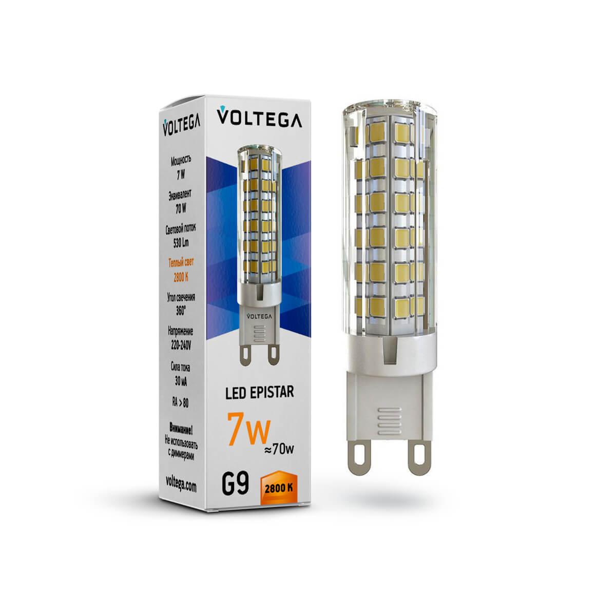 Лампа светодиодная Voltega G9 7W 2800К прозрачная VG9-K1G9warm7W 7036 ретро лампа 5928 voltega