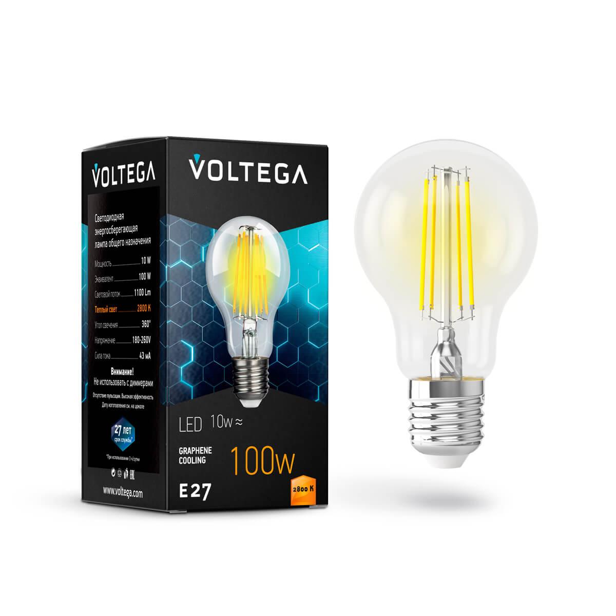 Лампа светодиодная филаментная Voltega E27 10W 2800К прозрачная VG10-А1E27warm10W-F 7102 лампа светодиодная филаментная voltega e14 6w 2800к прозрачная vg10 cc1e14warm6w f 7027