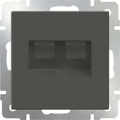 Розетка телефонная RJ-11 и Ethernet RJ-45 серо-коричневая WL07-RJ11+RJ45 4690389054105 цены онлайн