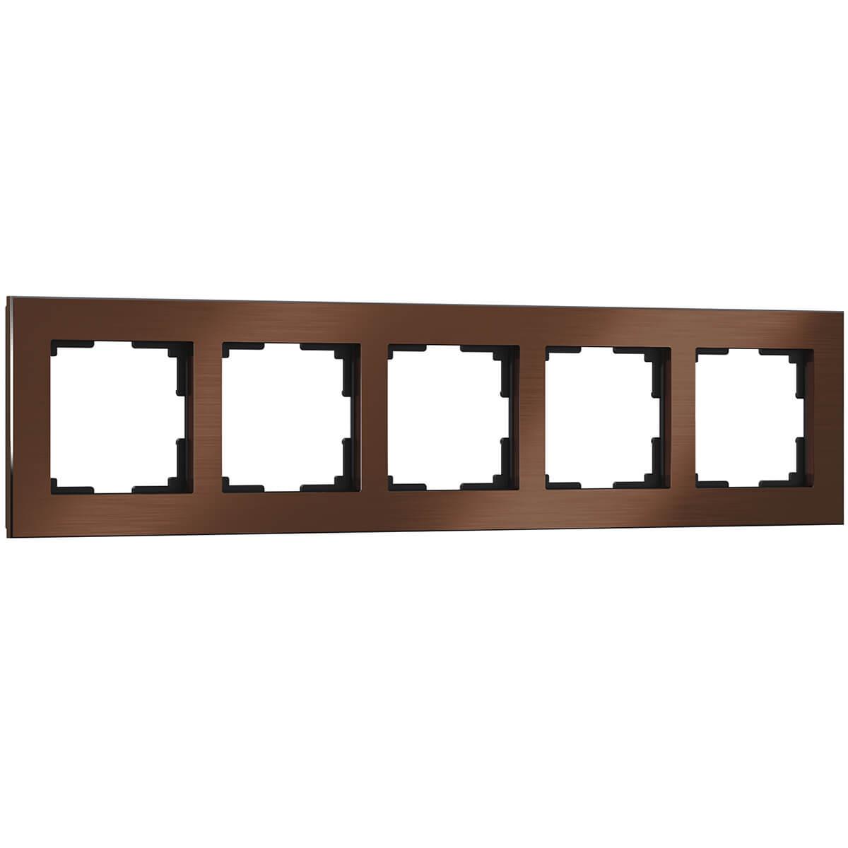Рамка Aluminium на 5 постов алюминий коричневый WL11-Frame-05 4690389073724 цена и фото