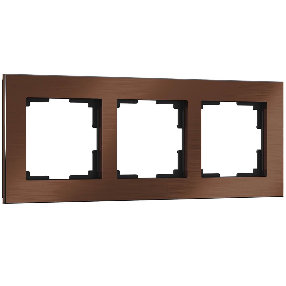 Рамка Aluminium на 3 поста алюминий коричневый WL11-Frame-03 4690389073700 цена и фото