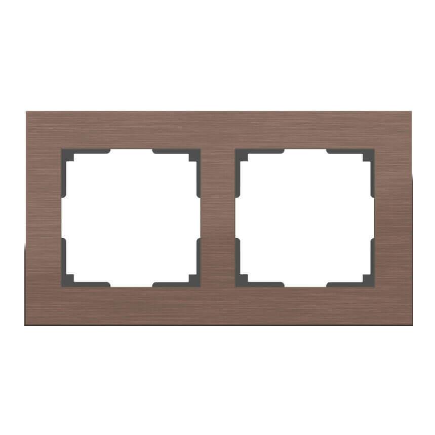 Рамка Aluminium на 2 поста алюминий коричневый WL11-Frame-02 4690389073694 цена и фото